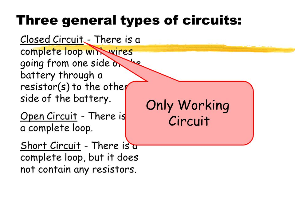 Three+general+types+of+circuits%3A circuit symbols battery resistor light bulb switch wire ppt  at virtualis.co
