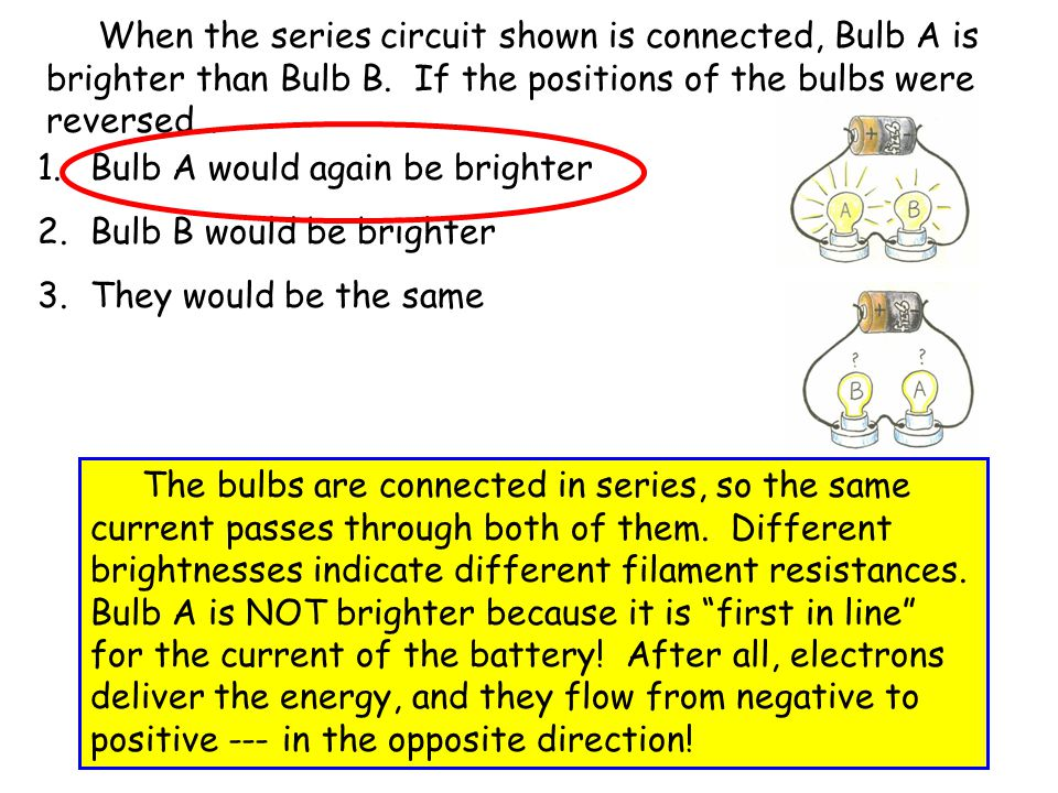 When the series circuit shown is connected, Bulb A is brighter than Bulb B. If the positions of the bulbs were reversed…