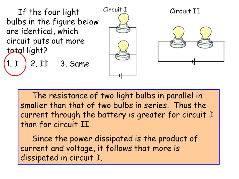 If the four light bulbs in the figure below are identical, which circuit puts out more total light