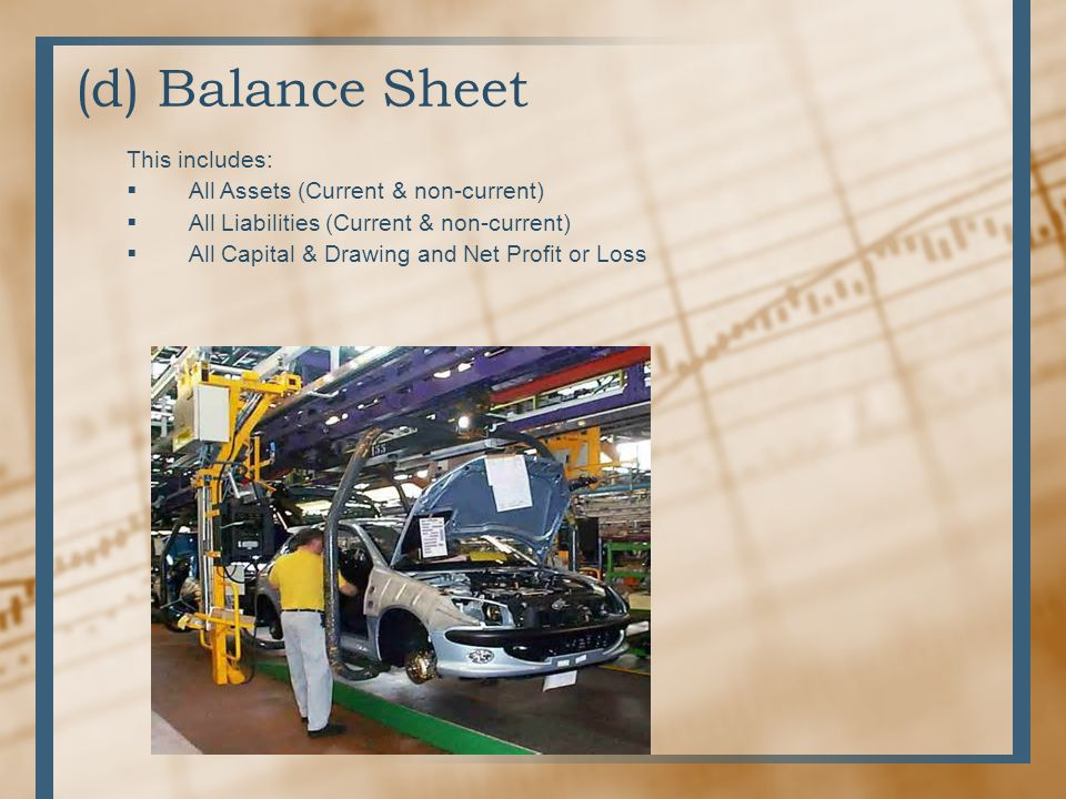 (d) Balance Sheet This includes: All Assets (Current & non-current)