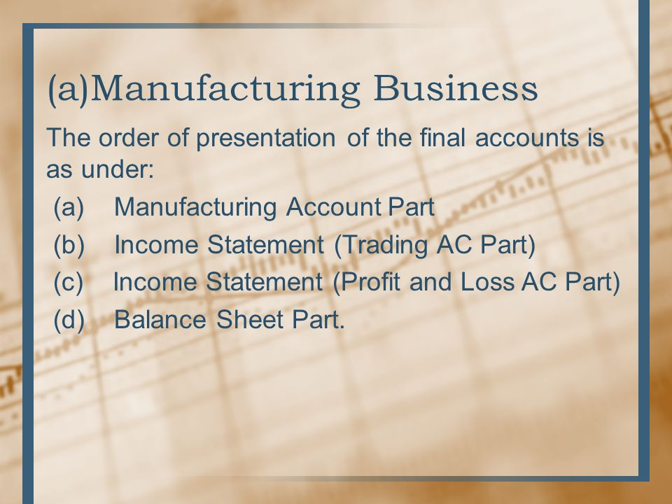 (a)Manufacturing Business