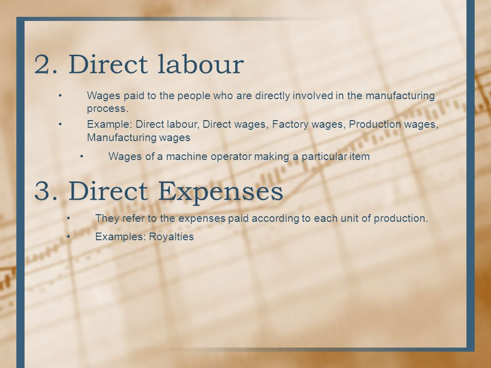 2. Direct labour 3. Direct Expenses