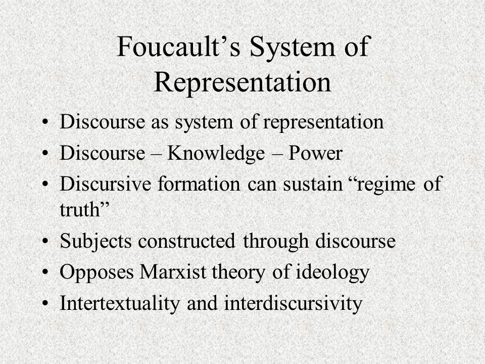 foucault s theory of discourse and power is the relation between discourse knowledge and power Foucault argues a number of points in relation to power and offers definitions that are directly opposed to more traditional liberal and marxist theories of power definitions power is not a thing but a relation power is not simply repressive but it is productive power is not simply a property of the state.