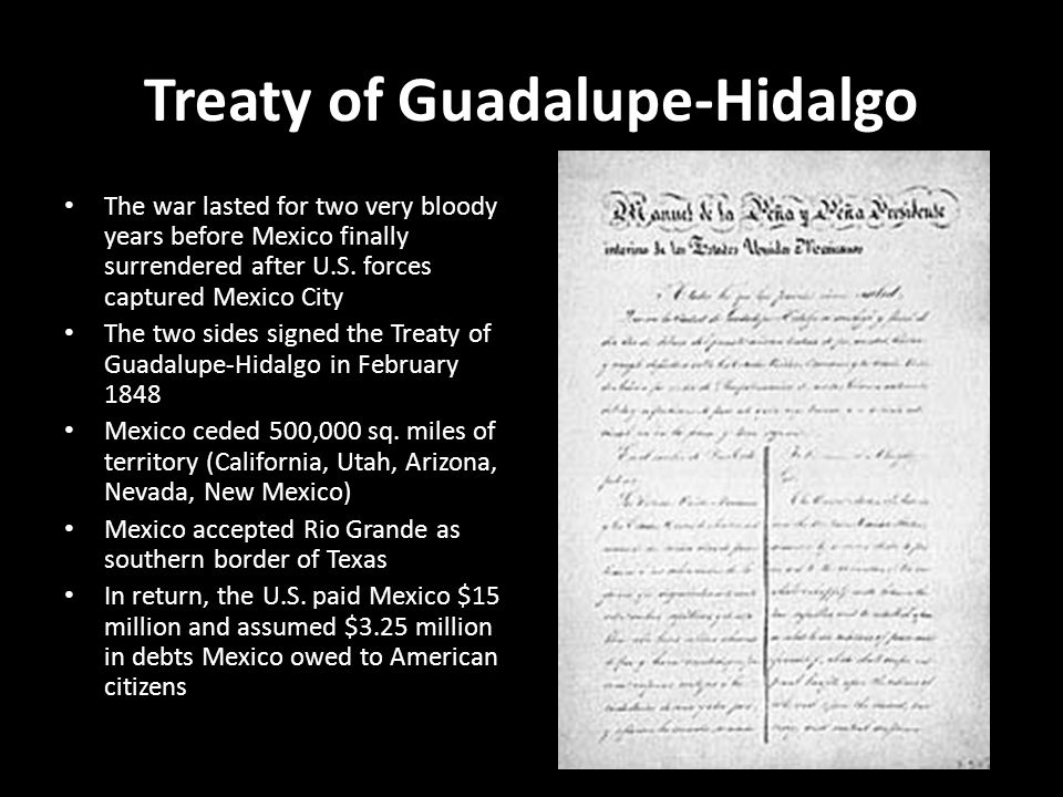 treaty of guadalupe On the surface, the treaty seem to be in accord with the treaty of guadalupe hidalgo, but the treaty was never ratified by the united states senate.
