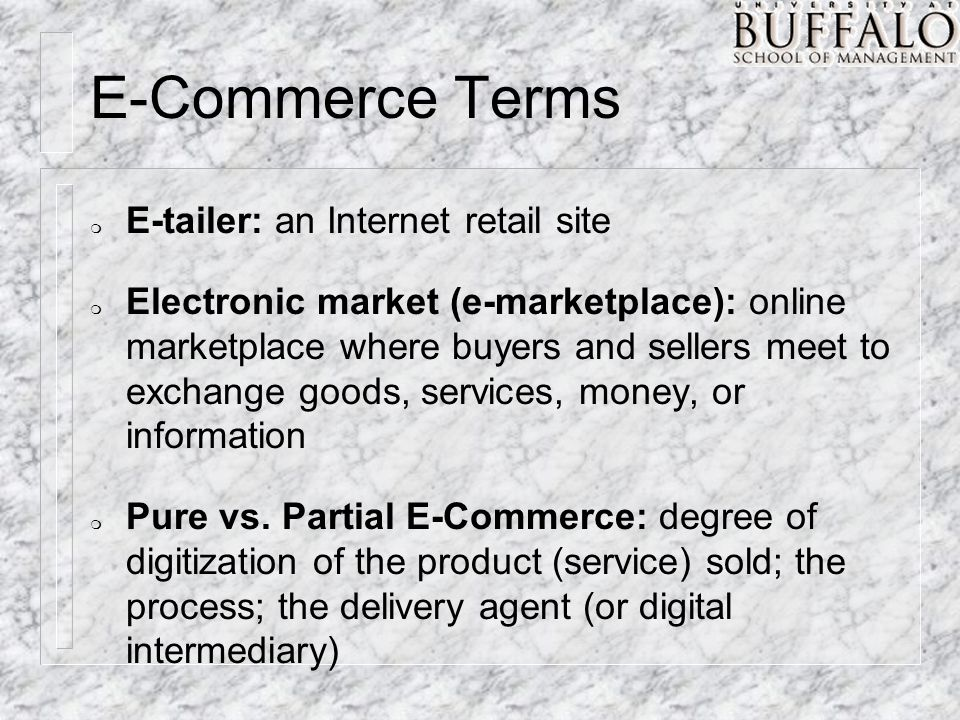 click and mortar vs pure play e tailers Faced by e-tailers  agent are all digital also called pure – play organization click-and– mortar  pure vs partial ec cont.