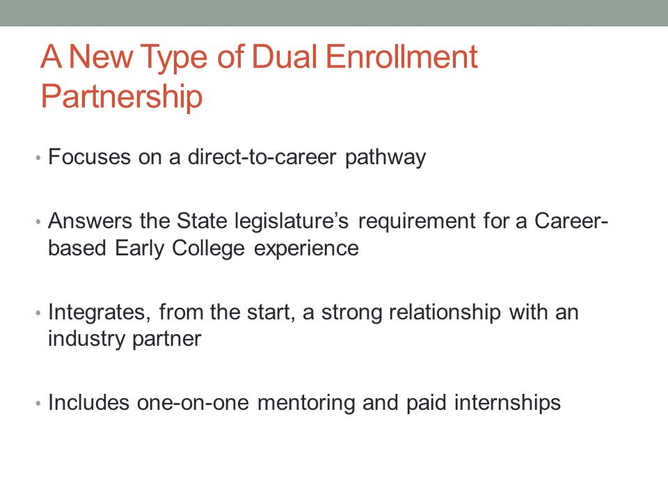A New Type of Dual Enrollment Partnership
