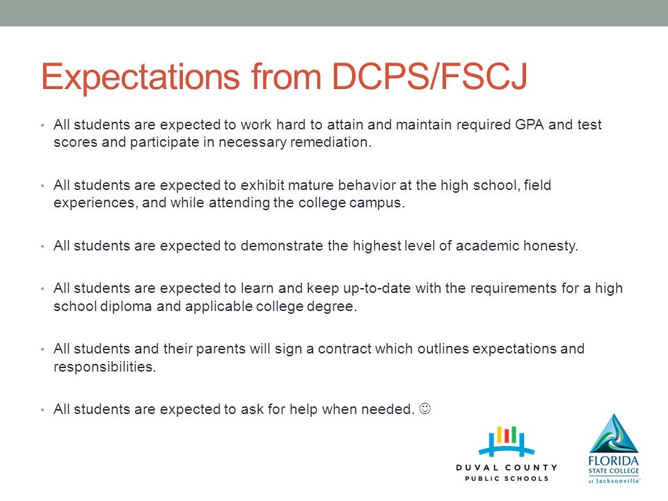Expectations from DCPS/FSCJ