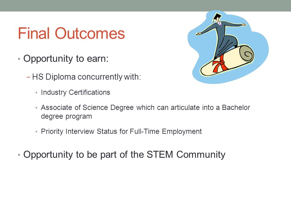 Final Outcomes Opportunity to earn: