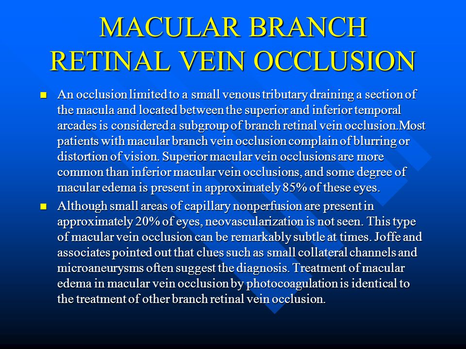 Retinal Vein Occlusions - ppt download