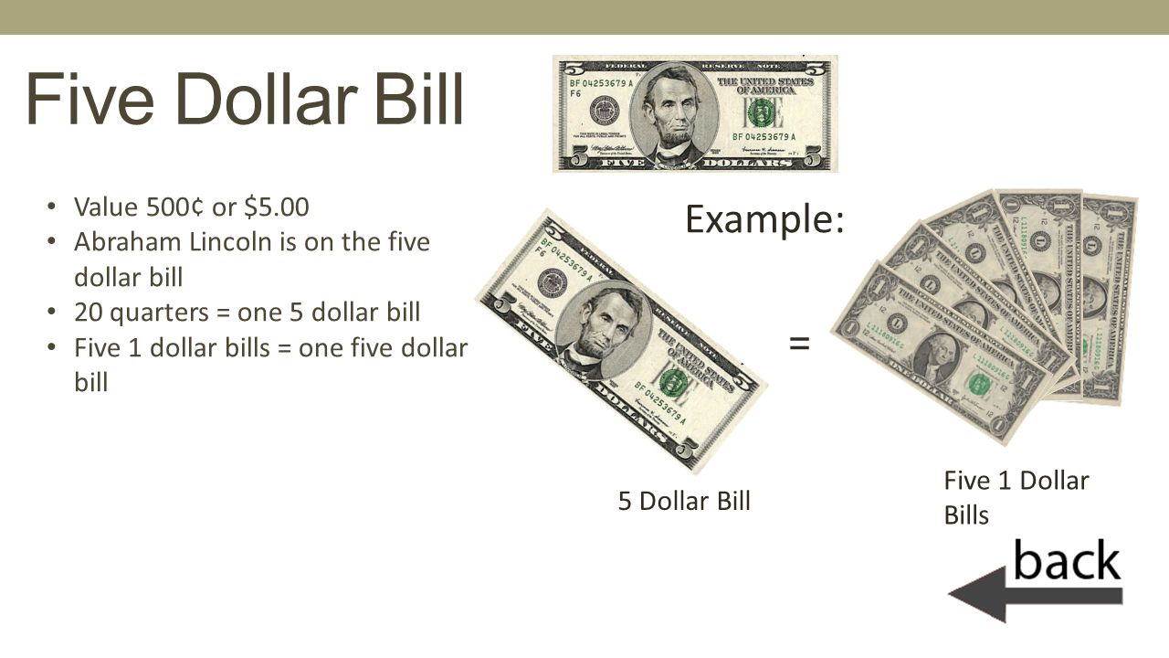 Five Dollar Bill Example: = Value 500¢ or $5.00