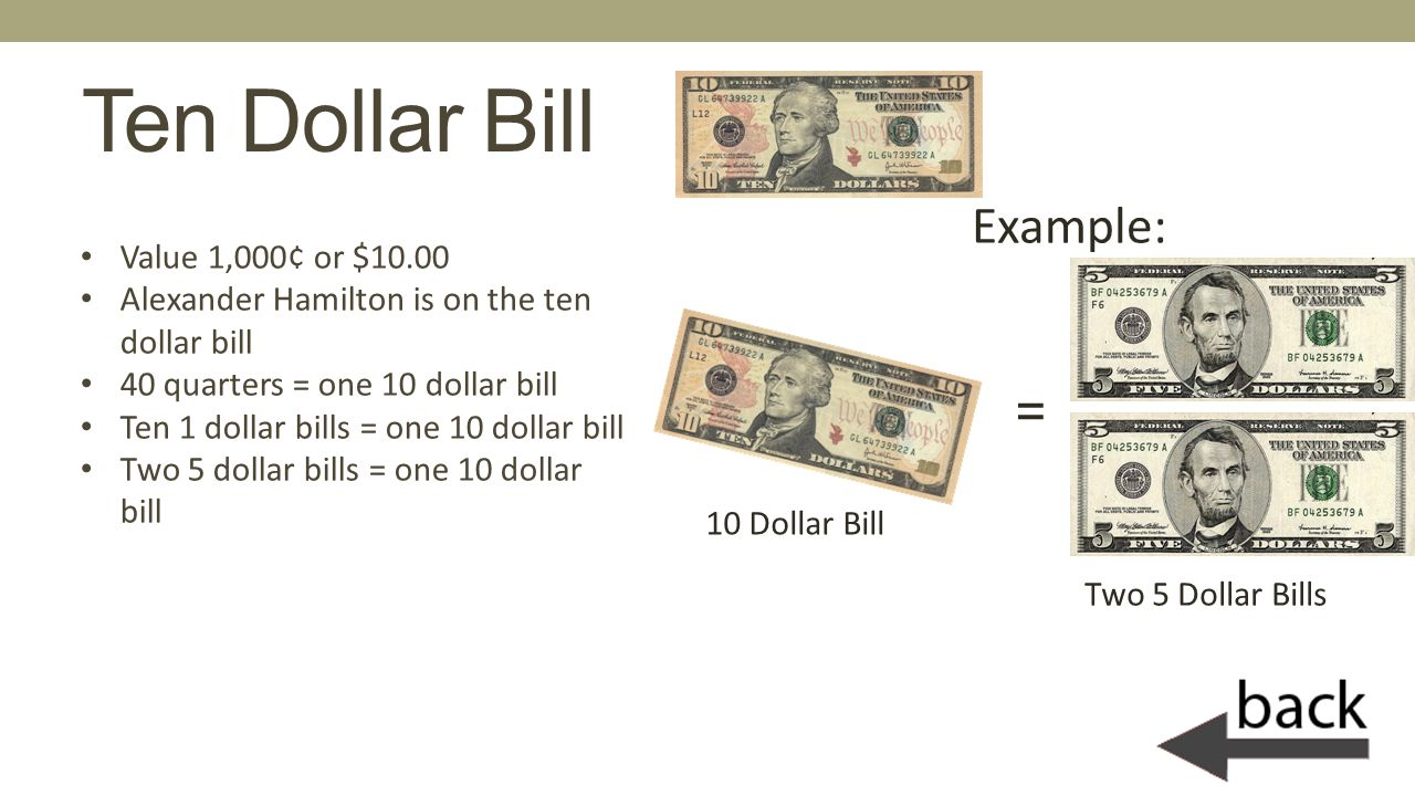 Ten Dollar Bill Example: = Value 1,000¢ or $10.00
