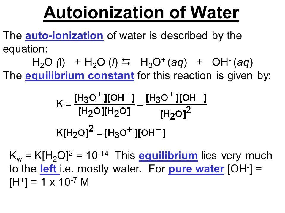 Autoionization Of Water Water Ionizer