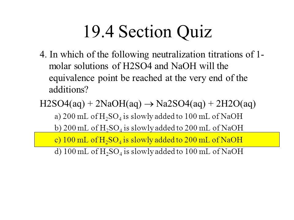 19.4 Section Quiz