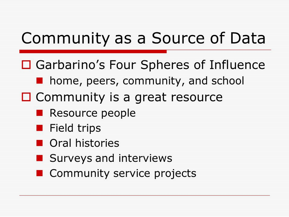 Community as a Source of Data