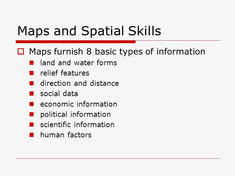 Maps and Spatial Skills