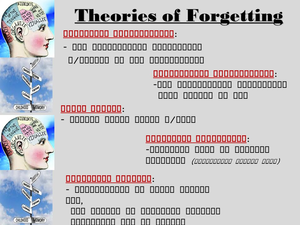 the theories of forgetting Dr bjork explains how our intuitions about memory are often faulty and how the  act of forgetting information can lead to a better retention of information in the.