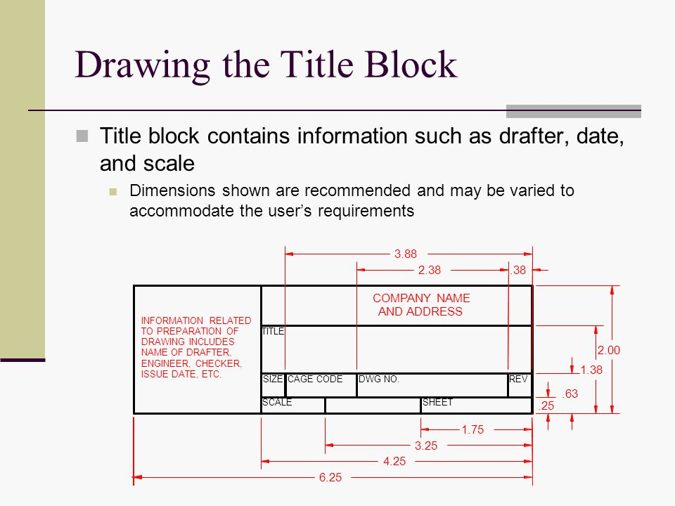 dwg title block templates - demonstrate correct drawing procedures ppt video online