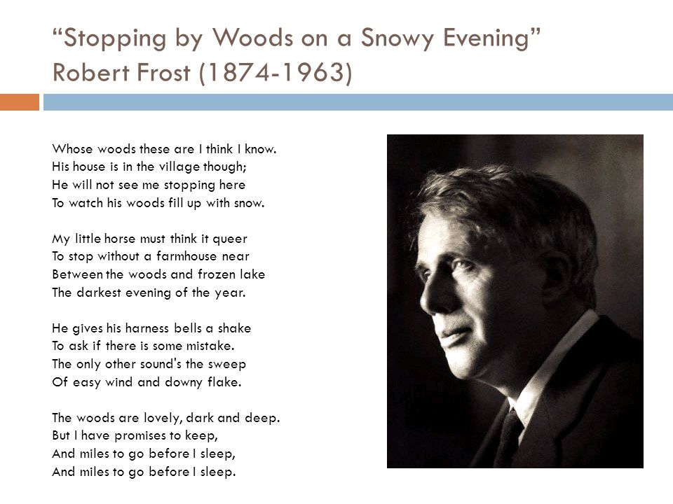 review robert frost s stopping by woods Stopping by woods on a snowy evening is a staple in any k-12 class that's started their poetry section robert frost's poem gets a new lease on life when combined with susan jeffers' impressive, clever and beautiful illustrations.