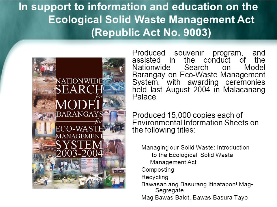 republic act no 9003 Republic act no 9003 ecological solid waste management - download as  powerpoint presentation (ppt / pptx), pdf file (pdf), text file (txt) or view.