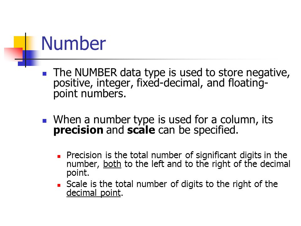 Number The NUMBER data type is used to store negative, positive, integer, fixed-decimal, and floating-point numbers.