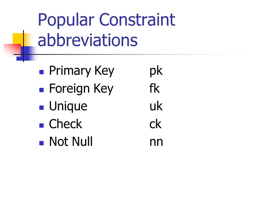 Popular Constraint abbreviations