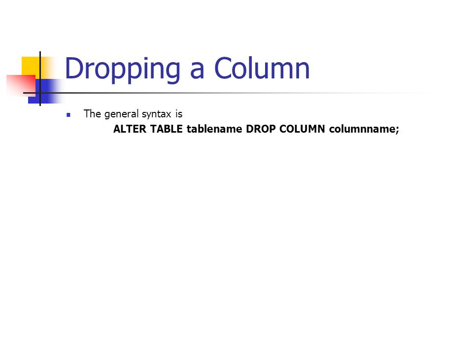 Dropping a Column The general syntax is