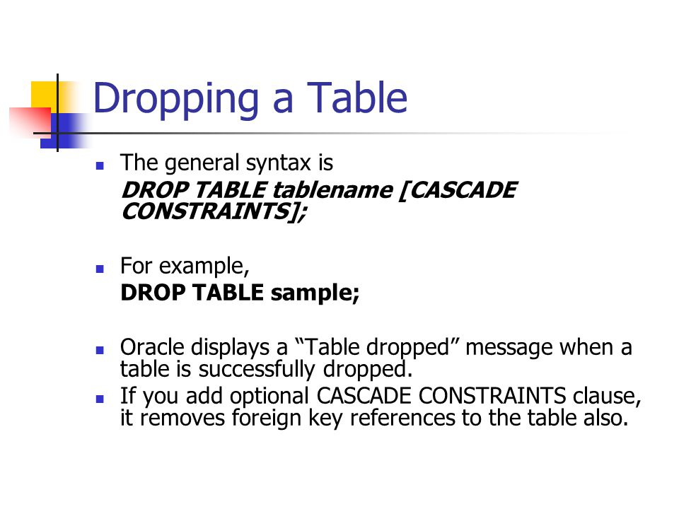 Dropping a Table The general syntax is