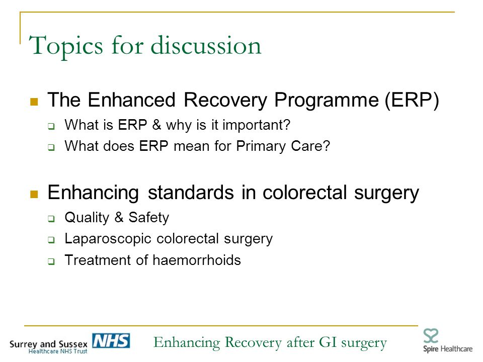 enhanced recovery programme colorectal surgery guidelines