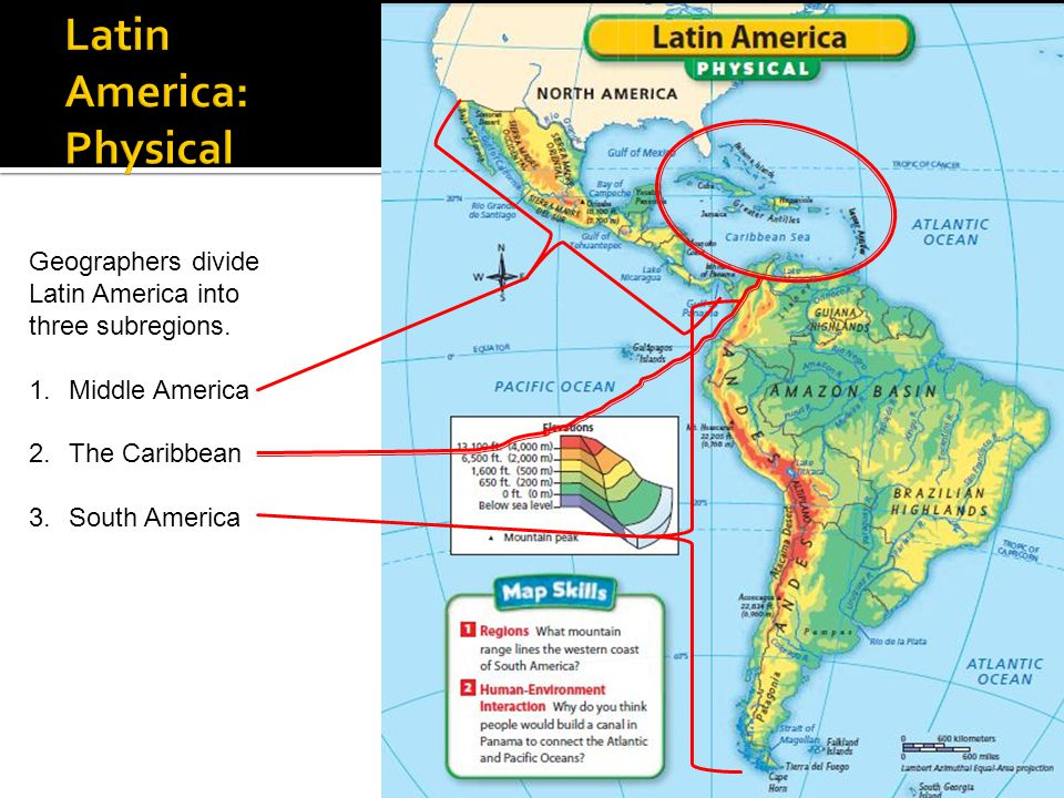 Physical Features Map Of Latin America 96
