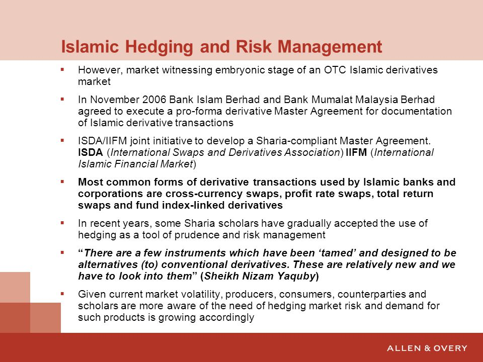 risk management in islamic vs conventional Despite the impressive growth of islamic banking and finance (ibf),  of  derivatives in the management of risk in the conventional space,.