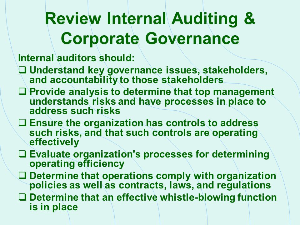 efficiency of it audit in corporate governance The group recognizes efforts to achieve effective corporate governance as  a  board of corporate auditors, the status of each director's performance of his or her .