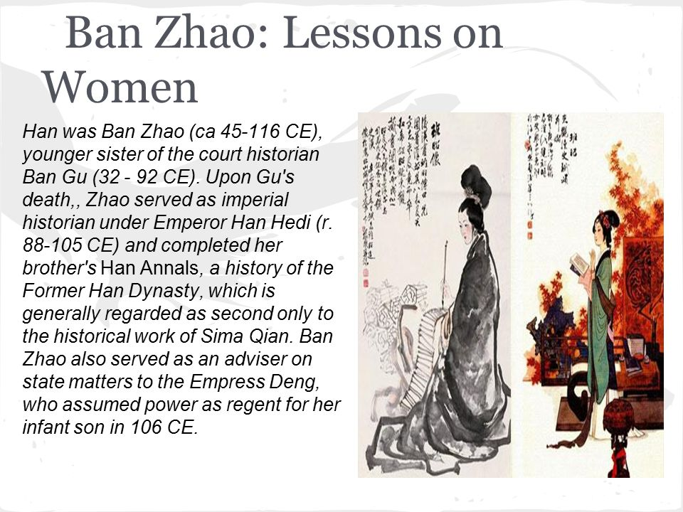 ban zhao Two of his children, ban gu and ban zhao, continued this work and eventually  crafted the first true dynastic history (jizhuanti 纪传体) in china.