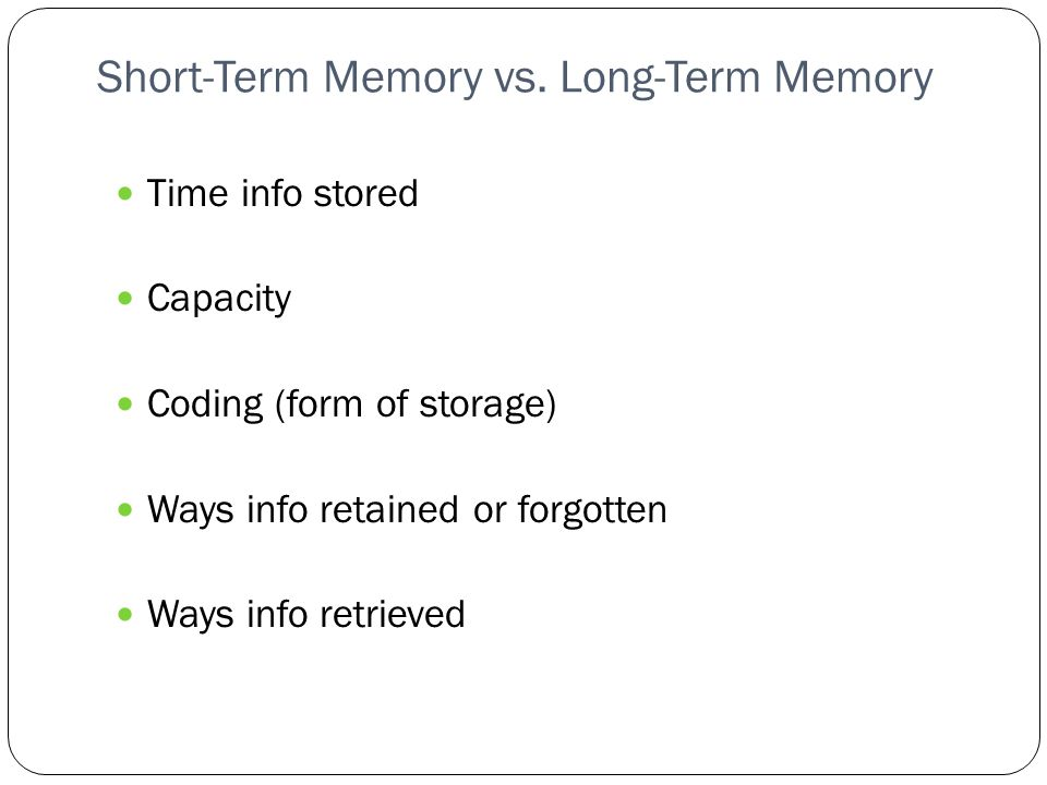 an analysis of the coding of short term and long term memory Cognitive psychology and cognitive neuroscience  memory, short term memory, and long term  psychology_and_cognitive_neuroscience/memory.