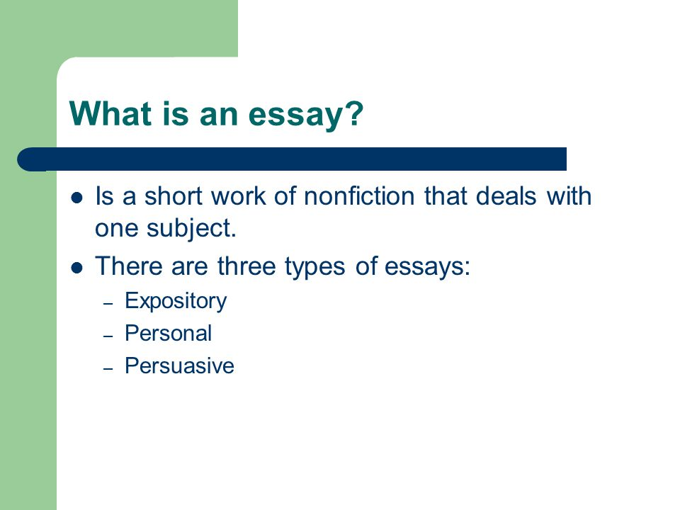 what are the three different types of essays