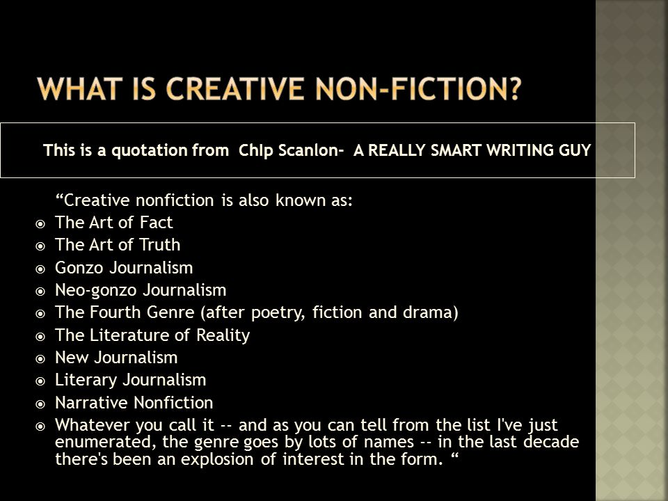 Creative non fiction writing