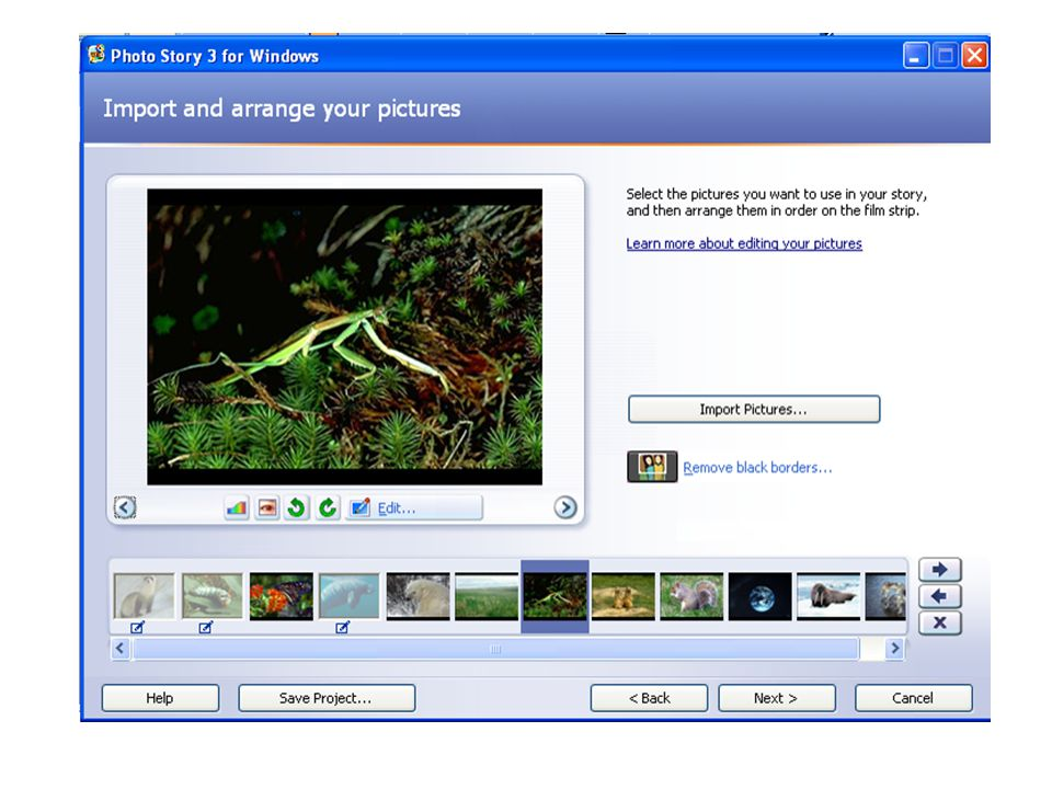 Moving around the PhotoStory pictures – buttons on individual picture screen move to next or previous pictures on the strip; Arrows to the right of the filmstrip area move the PICTURES location forward or back; the X deletes a picture.