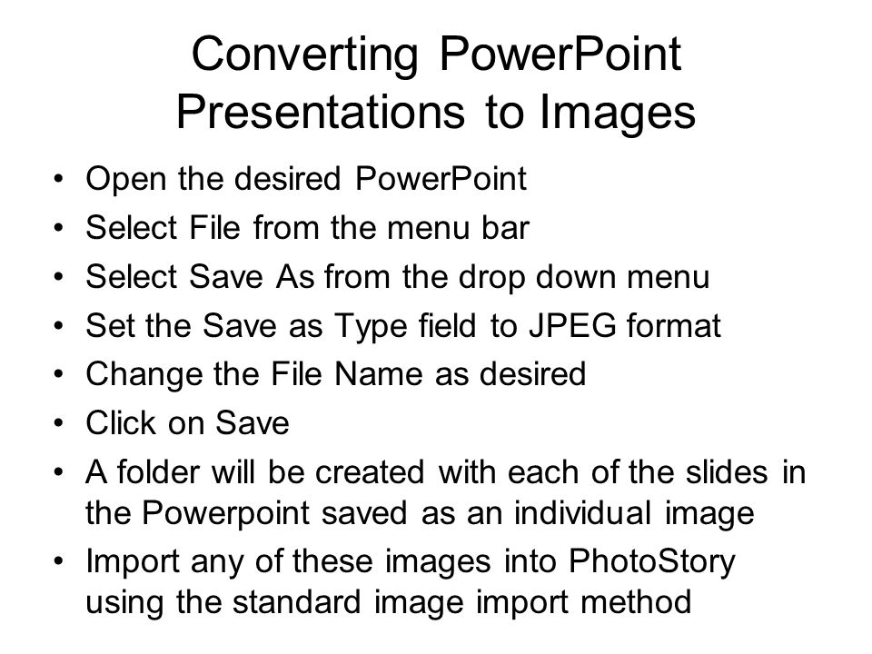 Converting PowerPoint Presentations to Images