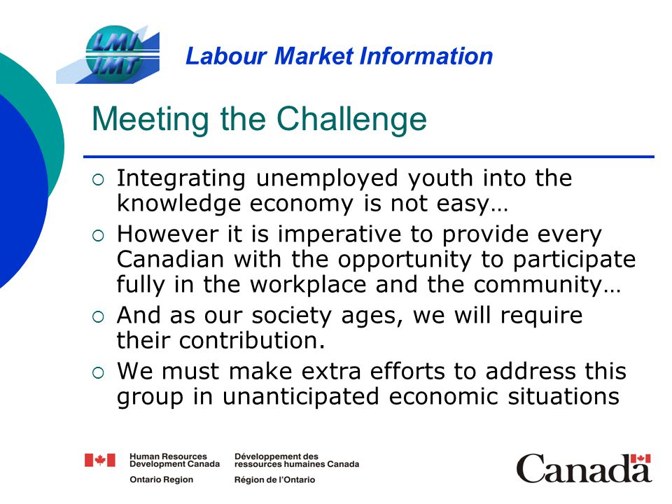 Meeting the Challenge Integrating unemployed youth into the knowledge economy is not easy…