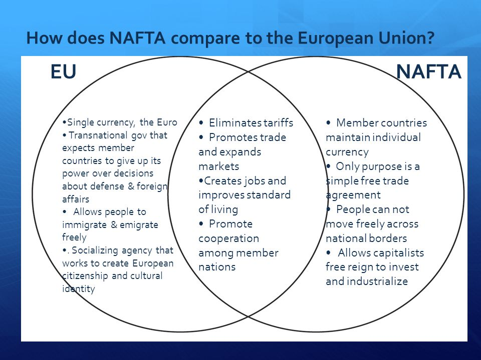 nafta eu compare contrast To compare and contrast two thing means to find the similarities and differences between them.