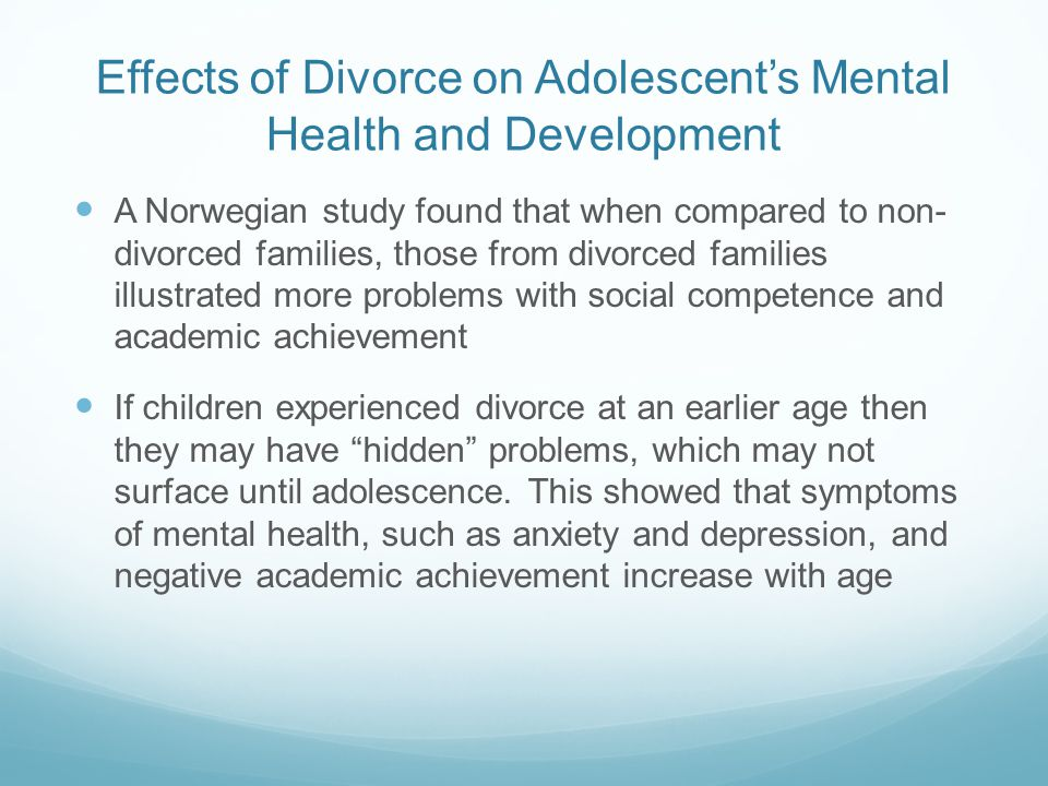 an analysis of the influence of divorce on child development The influence of parental separation and divorce on children's support networks in four european countries möchtest du mich stützen.