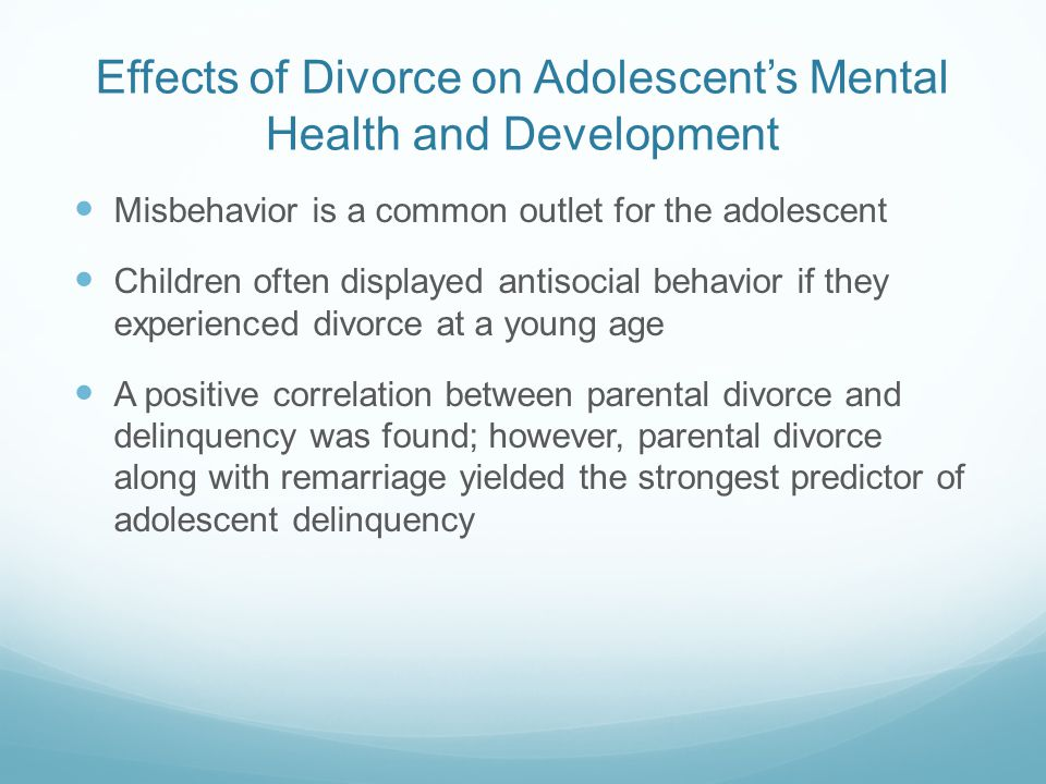 the impact of divorce on child development Impact of divorce on adolescent development 2 abstract divorce is a commonality in today's families, many children grow up in homes separated by.