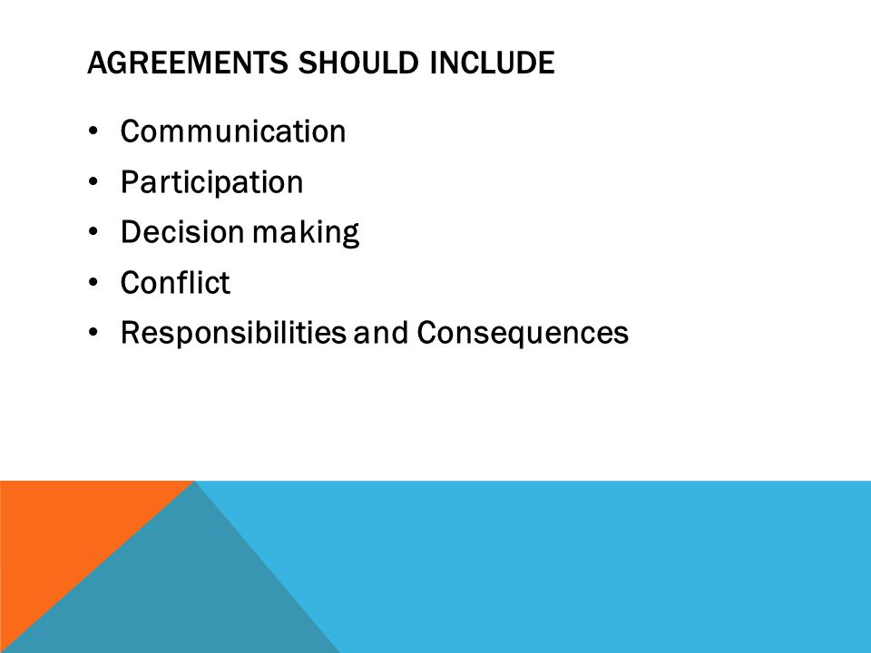 Agreements should include