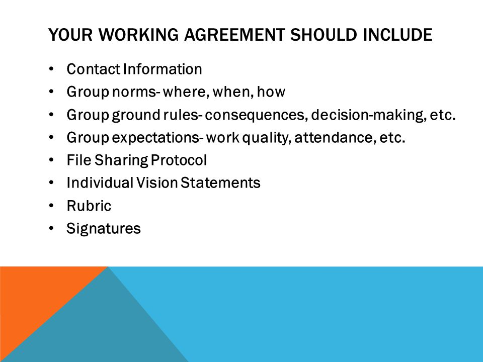Your working agreement should include