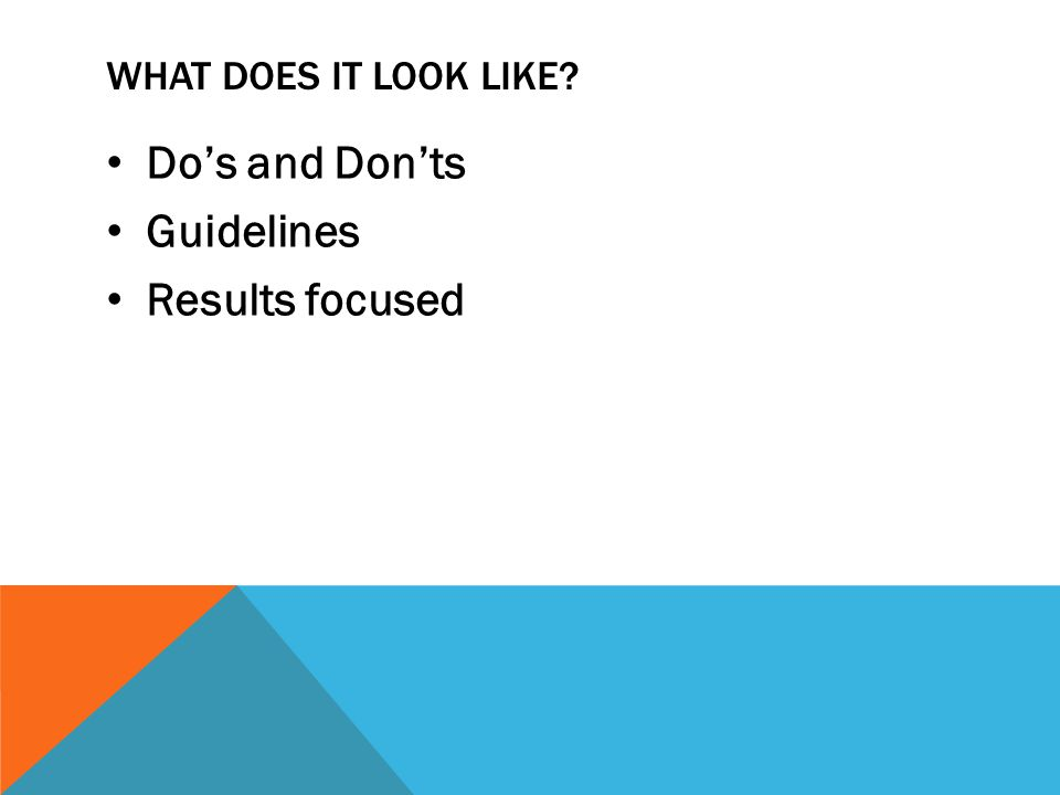 What does it look like Do's and Don'ts Guidelines Results focused