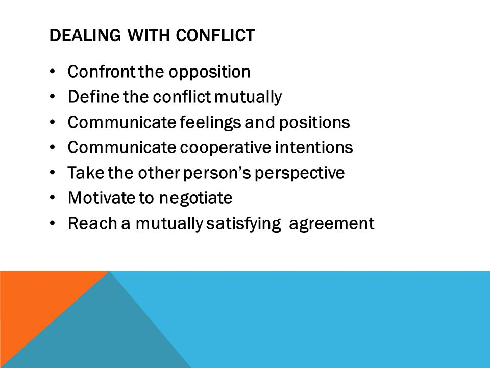 Dealing with conflict Confront the opposition