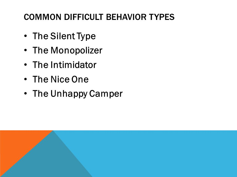 Common difficult behavior types