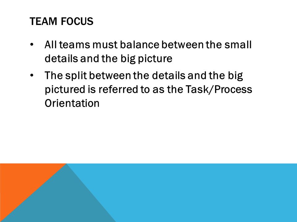 Team focus All teams must balance between the small details and the big picture.