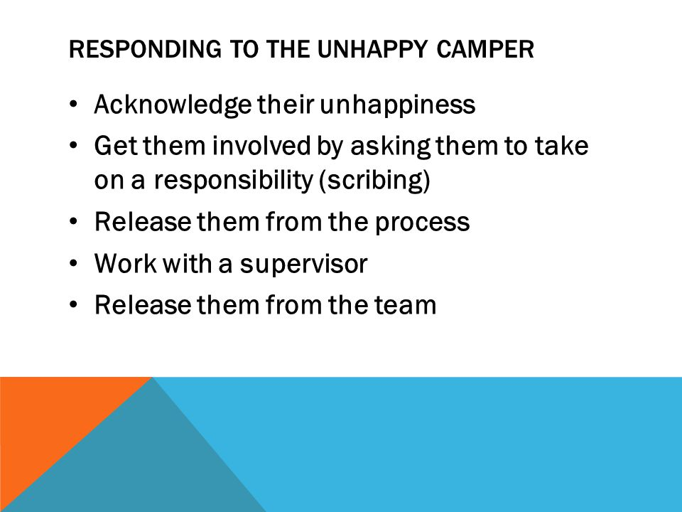 Responding to the unhappy camper