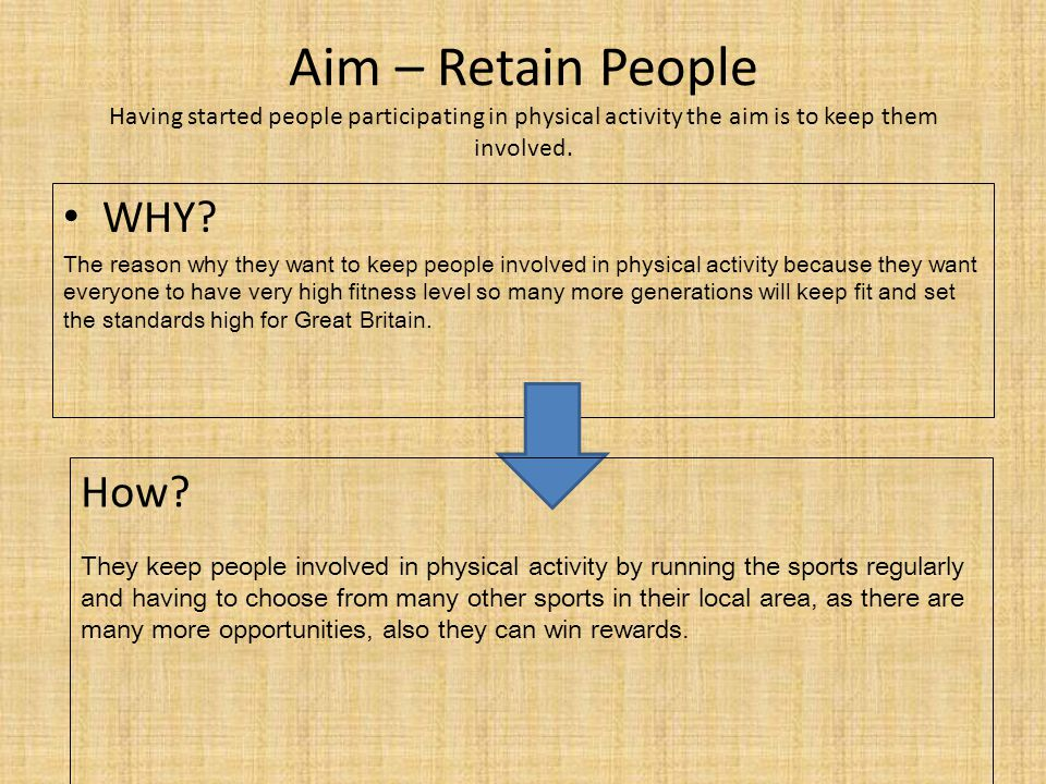 Aim – Retain People Having started people participating in physical activity the aim is to keep them involved.
