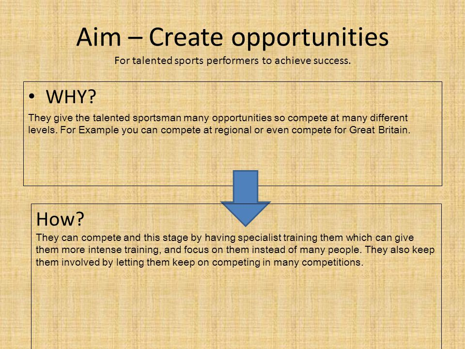 Aim – Create opportunities For talented sports performers to achieve success.